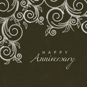 Beautiful floral background with text Happy Anniversary. — Stock Vector