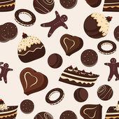 Wzór czekolady i ciastek. — Wektor stockowy