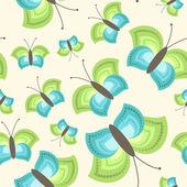 Bezešvé vzor s barevnými motýly. — Stock vektor