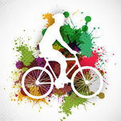 BMX cyclist performing stunt on colorful grungy background. EPS — Stok Vektör