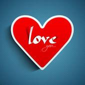 Cuore rosso con testo ti amo su sfondo blu — Vettoriale Stock