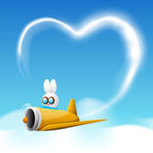 Love concept with a bunny in plane and heart form in sky. — Stock Vector