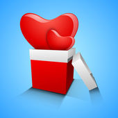 3D red hearts in gift box on blue background, love concept. — Stock Vector