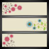 Website header or banner set with floral design. EPS 10. — Stock Vector