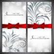 Beautiful floral decorated invitation card. — Stockvector