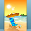 Summer holidays concept with beach chair at seaside in morning t — Stock Vector