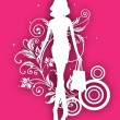 White silhouette of fashionable, shopping girl with bags on pink — Stock Vector
