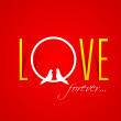 Text Love Forever over red background with two love birds. — Stock Vector