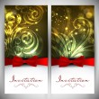 Beautiful floral decorated invitation card.  — Imagens vectoriais em stock
