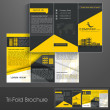 Professional business three fold flyer template, corporate broch - Stock Vector