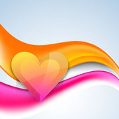 Glossy heart on colorful waves background. — Stock Vector