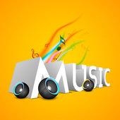 Música de texto 3d com alto-falantes em fundo amarelo. — Vetor de Stock