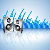 大声でスピーカーで音楽的な背景 — ストックベクタ