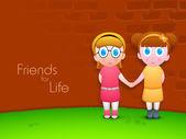 Přátelství den pozadí s dvě roztomilé holčičky drží han — Stock vektor