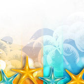 Summer holidays background with starfish. — Stock Vector