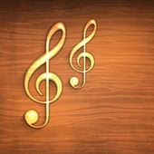 Golden musical notes on wooden background. — Stock Vector