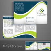Professional business three fold flyer template, corporate broch — Vector de stock
