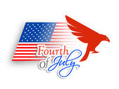 4th of July, American Independence Day concept with silhouette o — Stock Vector