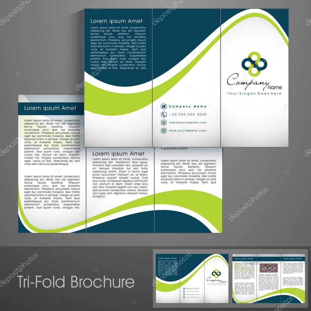 professional business three fold flyer template corporate broch stock vector alliesinteract. Black Bedroom Furniture Sets. Home Design Ideas