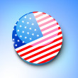 Stock Vector: 4th of July, American Independence Day shiny badge in national f