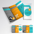 Professional business three fold flyer template, corporate broch - 图库矢量图片