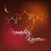 Ramadan Kareem background with illuminated Mosque or Masjid and — Stock Vector