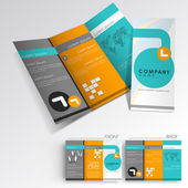 Professional business three fold flyer template, corporate broch — ストックベクタ