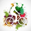 Stock Vector: BMX cyclist performing stunt on colorful grungy background. EPS