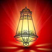 Illuminated decorated Arabic lantern on shiny background, conce — Stock Vector