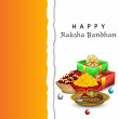 Stock Vector: Indifestival RakshBandhbackground with beautiful rakhi a