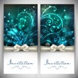Beautiful floral decorated invitation cards.  — Vettoriali Stock