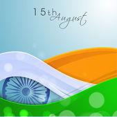 Indiska självständighetsdagen bakgrund med ashoka hjulet på nationella — Stockvektor