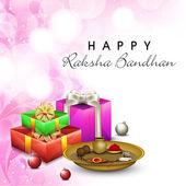 Indian festival Raksha Bandhan background with beautiful rakhi a — Stock Vector