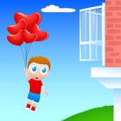 Ragazzo poco carino volando con palloncini forme di cuore, concetto di amore. — Vettoriale Stock