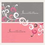 tarjetas de invitación decoración floral hermoso — Vector de stock