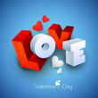 3D text love on blue background. — Stock Vector