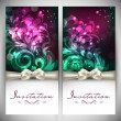 Beautiful floral decorated invitation cards.  — Imagens vectoriais em stock
