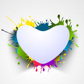 Blank shiny heart on colorful grungy background, love concept. — Stock Vector