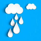 Rainy season background with clouds an raindrops. — Stock Vector