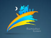 Concept for Muslim community Holy Month of Ramadan Kareem. — Stok Vektör