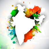 Republic of India map on national flag colors grunge background. — Stock Vector