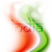 Indian national flag colors wave background with text India. — Stock Vector
