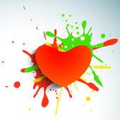 Láska pozadí s červeným papírem srdcem na barevné výstřední poz — Stock vektor