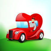 Young handsome boy driving heart shape vehicle. — Stock Vector