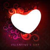 Prázdné srdce tvar na červeném pozadí květinový zdobené. — Stock vektor