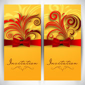 Beautiful floral decorated invitation cards. — Stock Vector