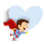 Love concept with little boy in superhero costume on heart shape — Stock Vector