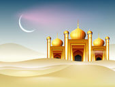 Golden Mosque and crescent moon background for Ramadan Kareem. — Vecteur
