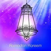 照明阿拉伯文灯闪亮炫彩背景上的斋月 — 图库矢量图片