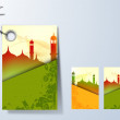 Islamic tag, labels or stickers with view of mosque.  — Stock Vector